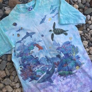 Vintage 90s Liquid Blue Tie Dye Overprint Oceanic